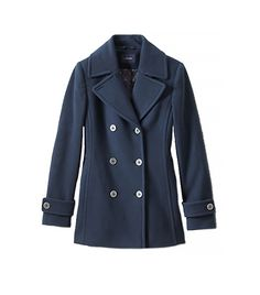 @Who What Wear - Lands' End                  Women's Regular Wool Cashmere Blend Pea Coat($179) in Navy