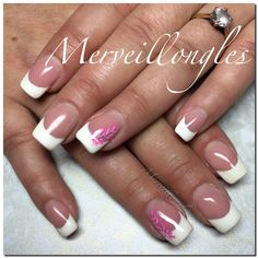 Ongles en gel uv french mariage déco plumes
