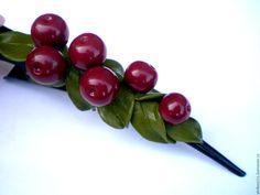 """Купить зажим для волос """"Спелая вишня"""" - бордовый, вишневый, вишня, вишенки, зажим для волос"""