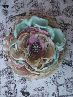 Handmade Flower Hair Clip with vintage rhinestone button, m2m Well Dressed Wolf Joyce dress