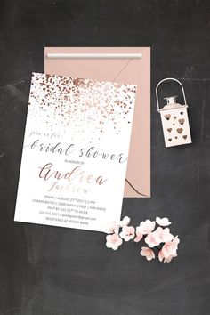 Modern Save the Date Cards Simple Save the Date Invitations Rose Gold Confetti Invitation Rose Gold Save the Date Card … Bridal Party Invitations, Letterpress Wedding Invitations, Save The Date Invitations, Modern Wedding Invitations, Wedding Cards, Glitter Invitations, Hens Night Invitations, Wedding Card Sample, Bachelorette Invitations