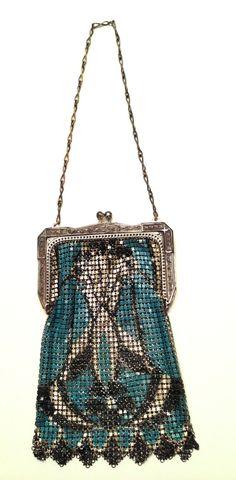 1930s Whiting & Davis mesh purse blue and black