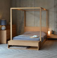Cube 4 poster bed and The Cube collection of Black Lotus bedroom furniture in solid oak