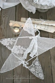 Wire, Vintage Lace & Doilies ~ Dishfunctional Designs: Shabby Upcycled and Repurposed Noel Christmas, Vintage Christmas, Christmas Crafts, Christmas Decorations, Christmas Ornaments, Lace Doilies, Framed Doilies, Linens And Lace, Vintage Lace