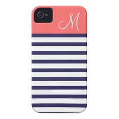Navy Blue and Coral Preppy Stripes Custom Monogram Case-Mate iPhone 4 Cases