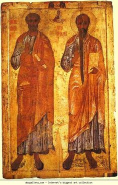 Russian Icon. Apostles Peter and Paul.12th-13th century, From the Church of the Ascension in Byelozersk