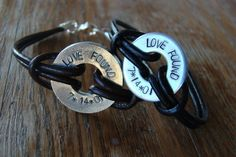 Two of a Kind  Couples bracelets hand stamped by erinsmeltz, $35.00