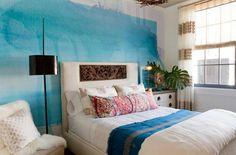 décoration murale en bleu pour la chambre à coucher