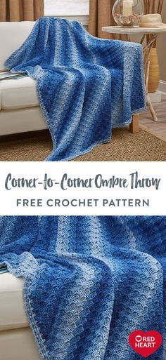 Yarnspirations is the spot to find countless free intermediate crochet patterns, including the Red Heart Corner-to-Corner Ombre Throw. Browse our large free collection of patterns & get crafting today! Easy Knitting Patterns, Afghan Patterns, Crochet Patterns, Crochet Ideas, Crochet Stitches For Blankets, Knitted Blankets, Crocheted Afghans, Free Crochet, Knit Crochet