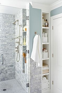 Walk-in showers often don't include a tub ledge to hold shampoo, soap, and loofah. Instead of leaving them on the floor, consider building a recessed wall shelf right into your walk-in shower. #walkinshower #walkinshowerideas #bathroommakeover #showerideas #bhg Space Saving Bathroom, Budget Bathroom Remodel, Bathroom Renovations, Bath Remodel, Small Shower Remodel, Walk In Shower Designs, Shower Tile Designs, Bathroom Design Small, Small Bathroom Tiles