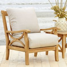 Birch Lane™ Heritage Brunswick Teak Patio Chair with Cushions Patio Lounge Chairs, Outdoor Lounge, Club Chairs, Outdoor Chairs, Rustic Outdoor, Outdoor Rooms, Outdoor Ideas, Outdoor Living, Teak Furniture