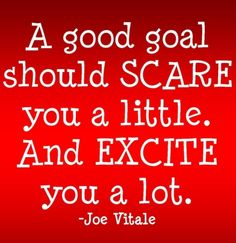 A good goal should scare you a little. And excite you a lot.