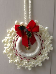 Peppermint Snowflake Ring ornament is the (and final) of my 2012 Ring Ornament Series. Crochet Christmas Wreath, Crochet Wreath, Crochet Christmas Decorations, Crochet Christmas Ornaments, Holiday Crochet, Christmas Sewing, Handmade Christmas, Christmas Diy, Crochet Ornament Patterns