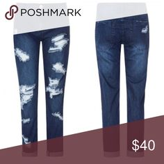NWT Glamorous Dark Wash Distressed Boyfriend Jeans Size L which is a U.K. 14 = US 10 • brand is sold at ASOS, Urban Outfitters, and Nastygal ASOS Jeans