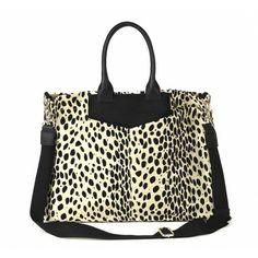 Leopard Sole Society Bags - LINEN LEOPARD  PRINT TOTE W/ LEATHER TRIMS  - SERENA #leopard #bag