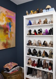 Navy walls + shoe organization