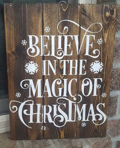 Believe In The Magic Of Christmas Wooden Sign #believe #christmas #ad #wood #sign #magic