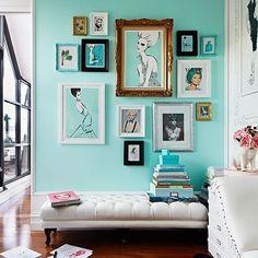 Wall photo arrangement, home decor design aqua teal turquoise