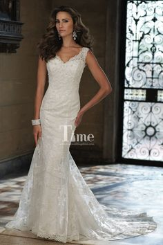 V-neck See Through Back Lace Wide Straps Mermaid Wedding Dresses/Bridal Gowns WD148174