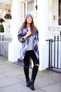 Mimi Ikonn | Black Distressed Jeans, Grey Sweater, Checked Blanket Coat, Grey Beanie, Black Biker Boots | Fall, Winter Outfit, OOTD