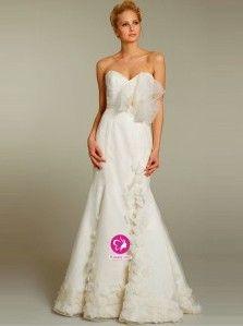 A-ligne Col en cœur Traîne moyenne Robe de mariée en Organza avec Nœud à boucles(FR0254253)