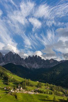 Santa Maddalena and Clouds, Dolomites, Italy