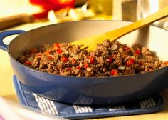 Recipes and tips for ground beef and hamburg, including nutritional information for various grades and fat content. Recipes include meat loaf, hamburgers, pasta meals, and several casseroles.