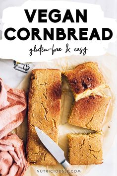 This easy vegan gluten-free cornbread only requires 6 basic ingredients and is so healthy! Perfect as a Thanksgiving side or as a savory snack. It's made with applesauce, oil-free, dairy-free, sugar-free and egg-free. Try our homemade moist and fluffy vegan cornbread with chili, chutney or bake it into muffins! Meal prep and family-friendly. Vegan Cornbread, Gluten Free Cornbread, Vegan Gluten Free, Dairy Free, Savory Snacks, Yummy Snacks, Vegan Recipes Easy Healthy, Healthy Desserts, Thanksgiving Sides