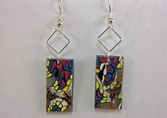 Abstract design dangle bead earrings  Polymer by CatsUniqueBeads