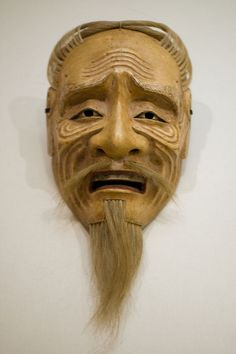 Wooden mask of an elderly man from the Tokugawa period, 19th century, Japan.