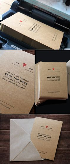 Kraft paper save the date. Love the little red heart accent