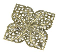 30 Brass Vintage Style Filigree Flat Square Metal Jewelry Findings by SmartParts, $5.49
