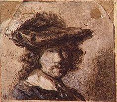 Autoportrait coiffé d'un béret orné d'une plume  Auteur :  Rembrandt Harmensz van Rijn (1606-1669)
