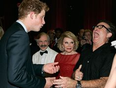 Prince Harry jokes around with stand-up comedians Robin Williams and Joan Rivers