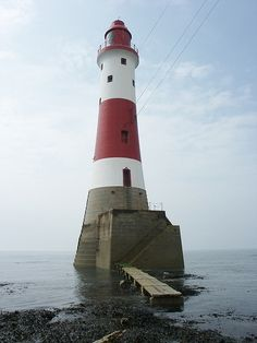 Beachy Head Lighthouse off the coast of England near the town of Eastbourne