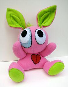 Rockin Rabbit - Jumbo pink plush bunny with lime green mohawk