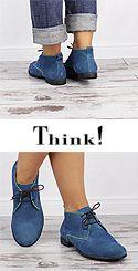 DKN 61 DENK Think 84010-92 Damen Schnür Booties bleu mit grünen Kanten