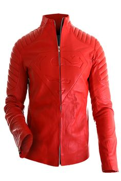 Superman Red Leather Jacket for Sale by UKLeatherFactory
