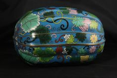 Rare Antique Chinese Melon Shaped Cloisonne Box