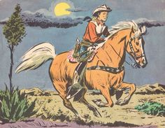 The vintage cowboy - Roy Rogers & Trigger - beautiful image. Cowboy Draw, Cowboy And Cowgirl, Western Comics, Western Art, Western Decor, Western Style, Jean Giraud, Vintage Prints, Vintage Posters