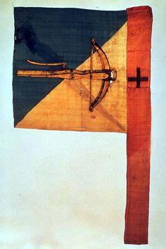 Drapeau (profane). Bannière des tireurs de la ville de Zurich. Taffetas peint. Datation: 1513. Dimensions (étamine): hauteur 70 cm, largeur 73 cm. (KZ-5639.1-2)  Crossbow side