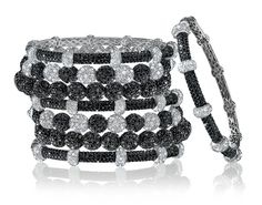 Black and White Diamond Stackable Bangles.