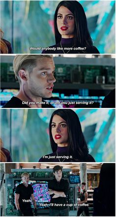Just serving ...  (shots taken from the tv serie Shadowhunters) ... the mortal instruments, isabelle lightwood, jace herondale, alexander 'alec' lightwood, emeraude toubia, matthew daddario, shadowhunters, dominic sherwood