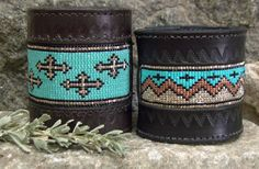 Leather Cuffs in Silver, Copper, Turquoise and Black