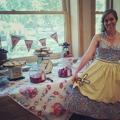 My vintage theme bridal shower, all the guests wore aprons!