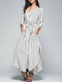 SHARE & Get it FREE | Striped Lapel Collar Pockets Belted DressFor Fashion Lovers only:80,000+ Items • New Arrivals Daily Join Zaful: Get YOUR $50 NOW!