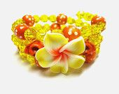 Day Of The Dead Sugar Skull Bracelet Flor de Muertos Hibiscus Itty Bitty Pretties Orange Yellow Cuff