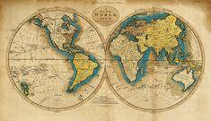 Weltkarte  archivalische Druck  19 x 33  von AncientShades auf Etsy, $45.00