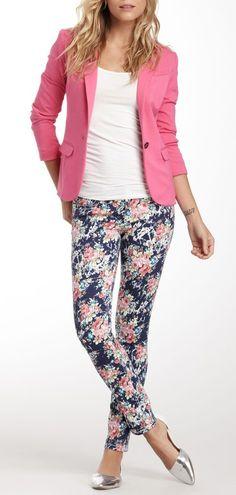 Seven7 Crystal Rose Printed Skinny Jean