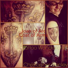 Joan of Arc Coat of Arms @tattoowonderland by Christopher Danley #tattoowonderland #fineline #dotwork #moretocome